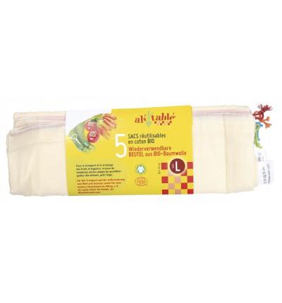 5 sacs à vrac en coton Bio Taille L