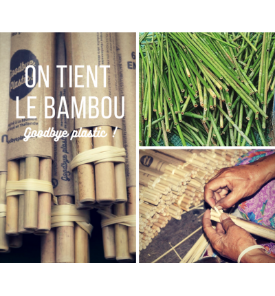 LOT DE 6 PAILLES EN BAMBOU + 1 GOUPILLON