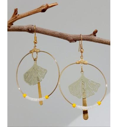 Boucles d'oreilles Bohème Chic en filigrane kaki et perles