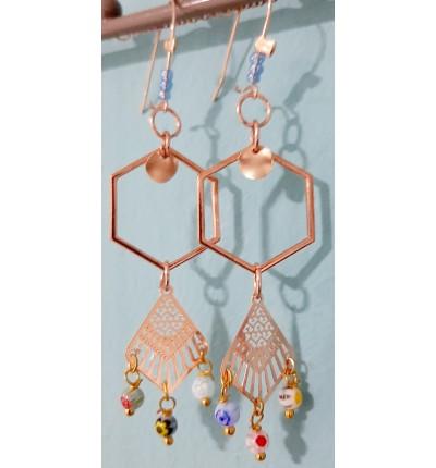 Boucles d'oreilles Bohème Chic Oriental rose gold , avec rosaces en filigrane et perles