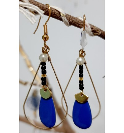Boucles d'oreilles Bohème Chic forme goutte , avec sequins en émail bleu et perles