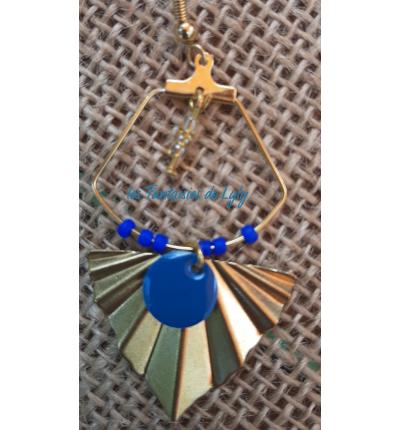 Boucles d'oreilles Oriental Vintage, avec créoles et breloque forme éventail, émail et perles bleu pétrole