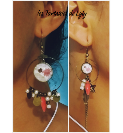 Boucles d'oreilles Bohème Romantic, avec cabochons imprimés, perles et breloques